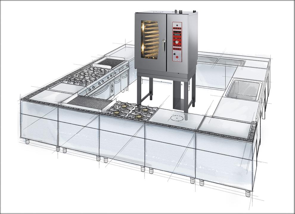 Immagine illustrazione cucina industriale. Rendering virtuale fotorealistico per catalogo