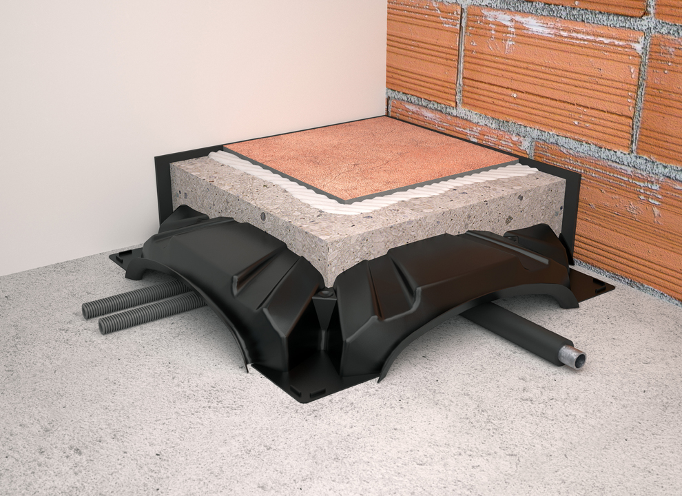 Immagine: rendering 3D di un pavimento con materiale fonoassorbente. Graphic design studio grafico a Padova holbein & Partners