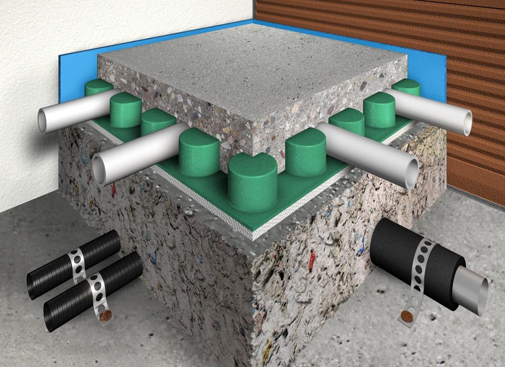 Immagine: rendering 3D di un pavimento con materiale fonoassorbente. Virtual tour 360 gradi grafica H&P di Treviso