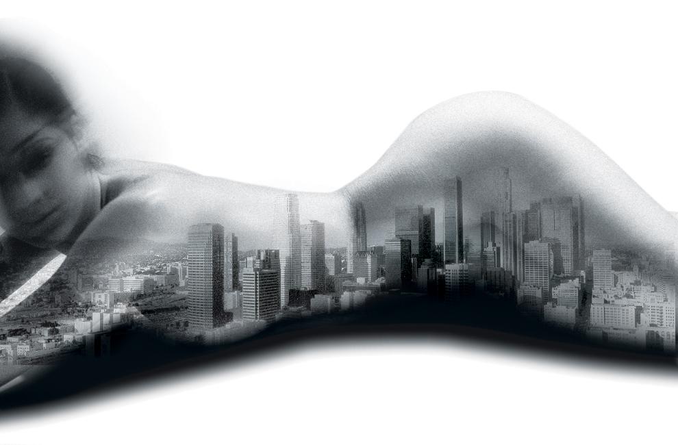 Immagine: fotoritocco donna con città. Disegno e illustrazione studio grafico H&P