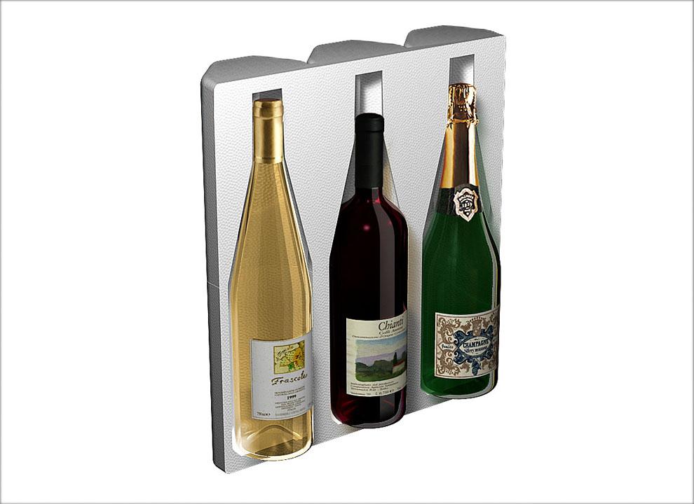 Immagine rend 3D pack da 3 bottiglie. Animazione 3D Holbein & Partners TV