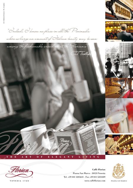 Immagine di pagina pubblicitaria coordinata a brand Caffè Florian 1720, San Marco - Venezia. Cliente istituzionale Holbein & Partners.