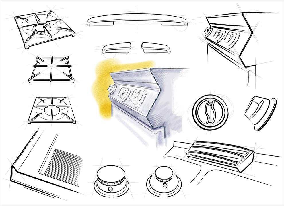 Immagine: particolari componenti cucine Silko. Illustrazione Agenzia pubblicitaria vicino Padova H&P