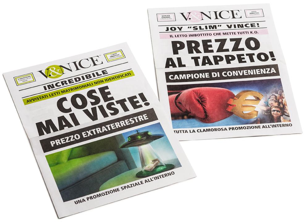 Cliente V&Nice, progettazione grafica di magazine promozionali.