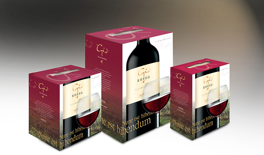 packaging tre formati box vino rosso