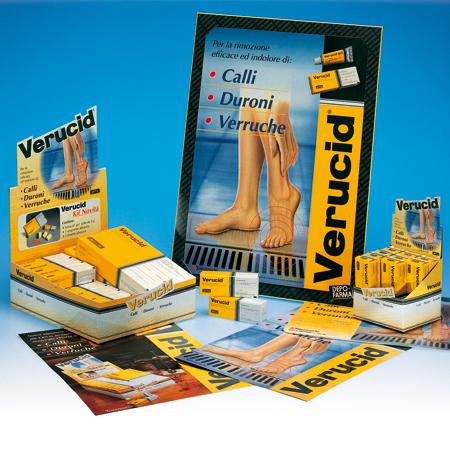 immagine coordinata di prodotto Verucid. A treviso realizzazione grafica globale curata dall'agenzia pubblicitaria Holbein & P.