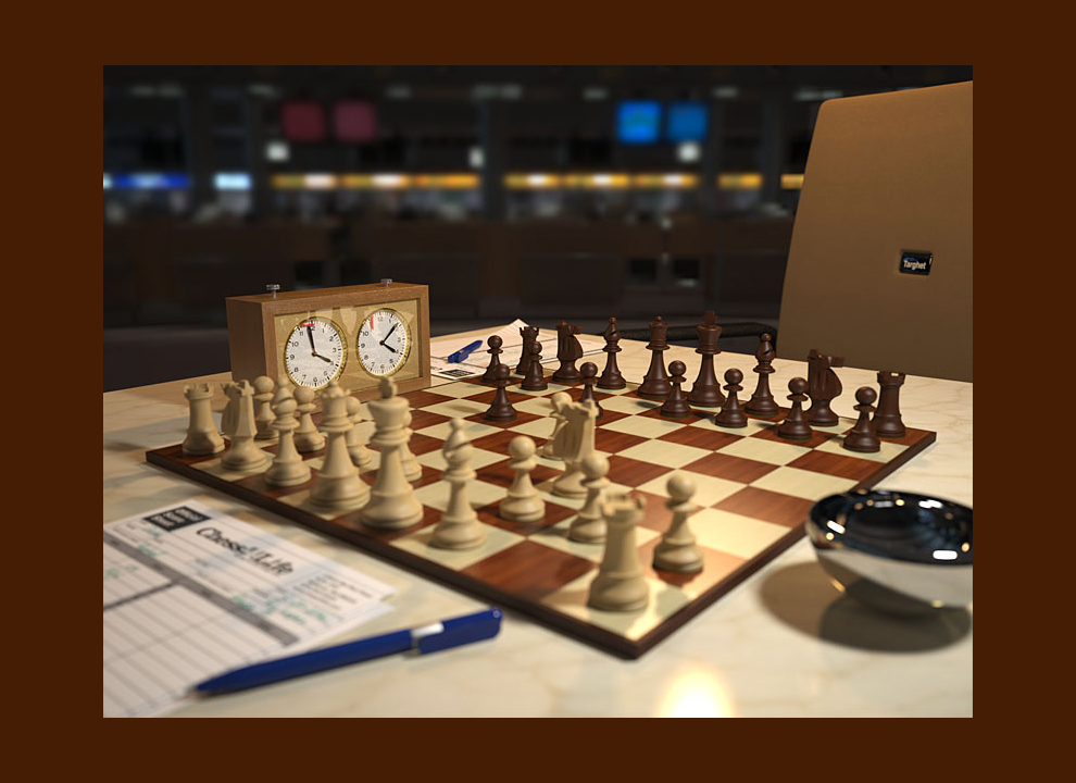 Immagine: rendering di scacchiera. Fotografia virtuale realizzata dallo studio grafico pubblicitario vicino Mestre Holbein & Partners.