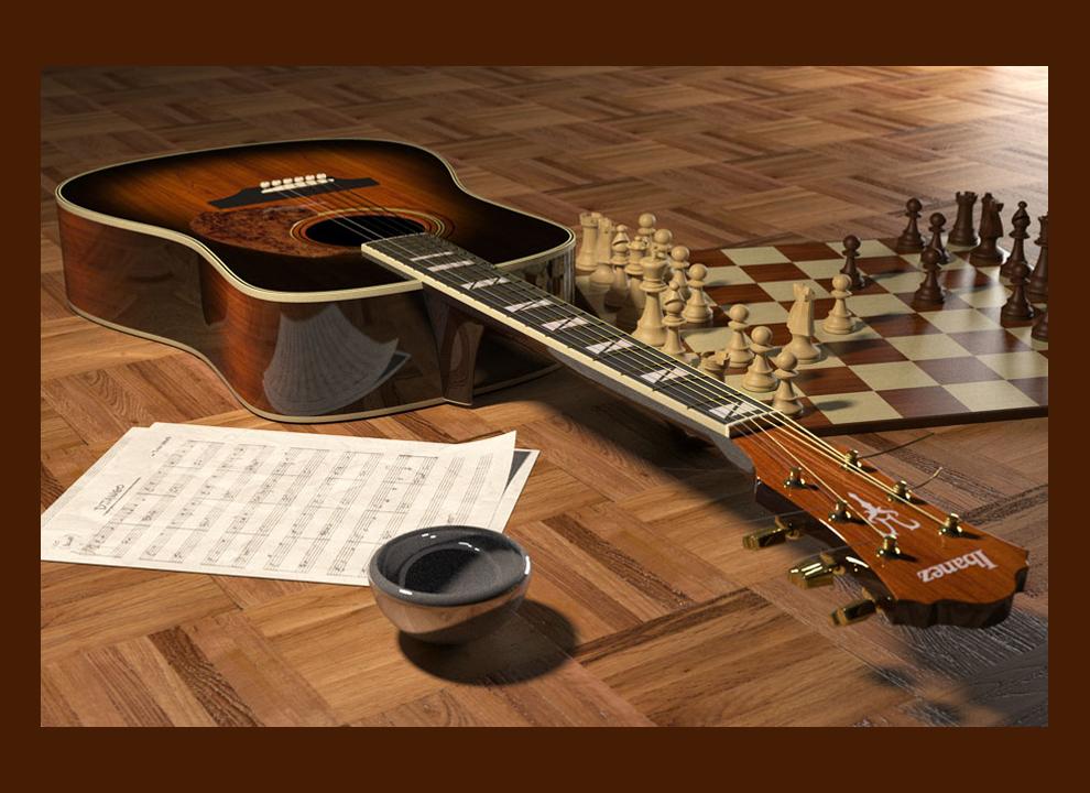 Immagine; chitarra e scacchiera sul pavimento. prototipizzazione 3D realizzata dall'agenzia pubblicitaria trevigiana Holbein SRL di Villorba