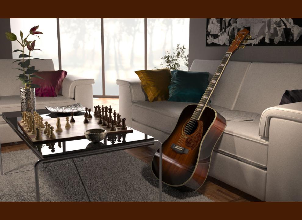 Immagine Rendering chitarra,scacchiera e divano. Graphic design progettazione e realizzazione agenzia di grafica pubblicitaria h&P di Villorba