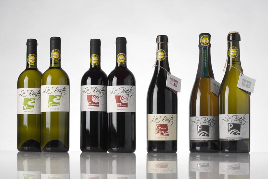 Immagine packaging Le Baite. Studio linea etichetta per vini (Prosecco). Creazione grafica etichette vinicole e consulenze legali per nome prodotto. Studio grafico H&P di Treviso