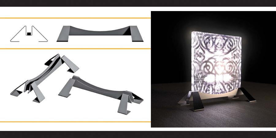 Immagine di design di prodotto di un basamento per illuminazioone. Studio pubblicitaro H&P Treviso - Graphic Design
