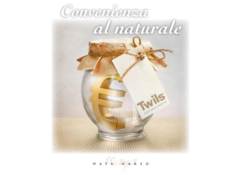 """Twils, """"Maya Naked"""": immagine ideata per la campagna stampa convenienza AD Agenzia di comunicazione Web holbein & Partners."""