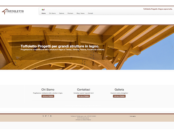 immagine homepage nuovo sito Toffoletto Progetti by Holbein & Partners web agency