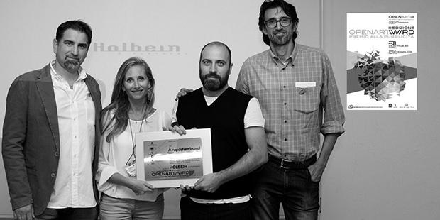 Momento della premiazione e consegna del Premio Speciale Napoli Film Festival 2015 di OpenArtAward a Leopoldo Zaffalon e Andrea Carnieletto dell'Agenzia pubblicitaria Holbein & Partners di Treviso.