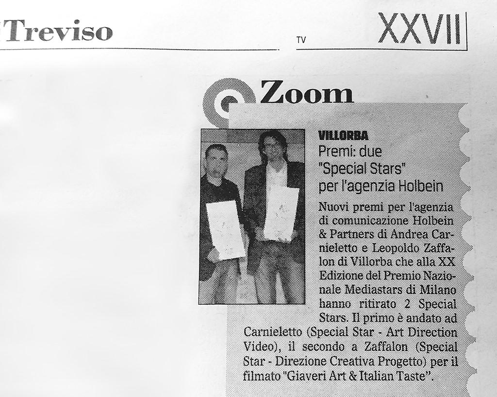 Gazzettino di Treviso Premi media stars 29-06-2016